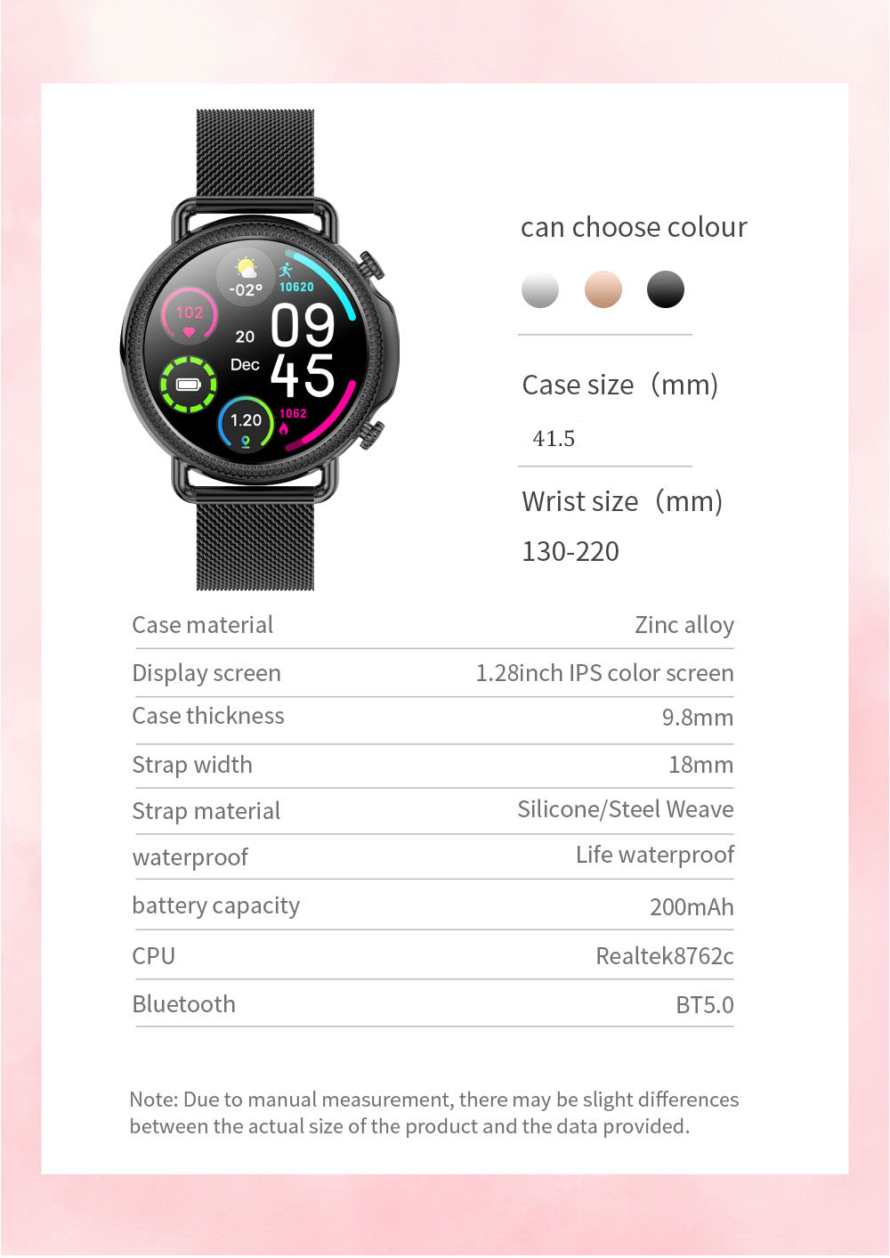 H2e8e21c4ce5b4057b588f89fac7895fc8 2021 Women Smart Watch 1.28 inch HD Screen IP67 Waterproof Lady's Watches Body Temperature Heart Rate Monitor PK V23