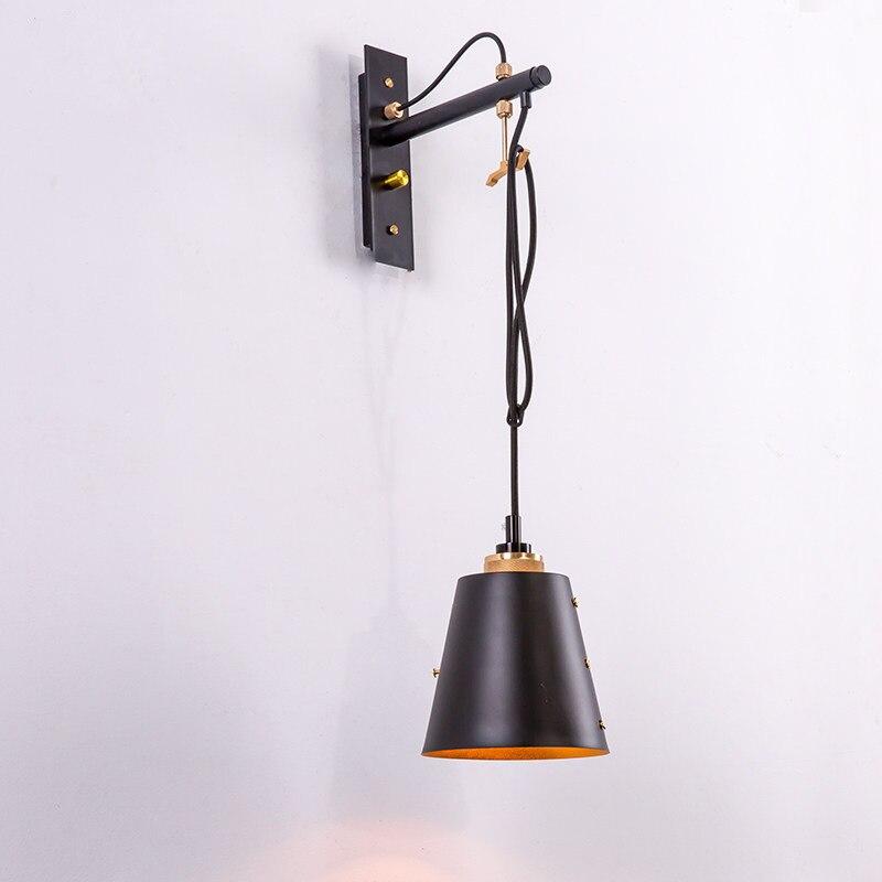 Işıklar ve Aydınlatma'ten LED İç Mekan Duvar Lambaları'de Amerikan Vintage duvar lambası yatak odası ışıkları endüstriyel rüzgar duvar aplik LED E27 110v 220v siyah demir lamba gövde loft Retro lamba title=