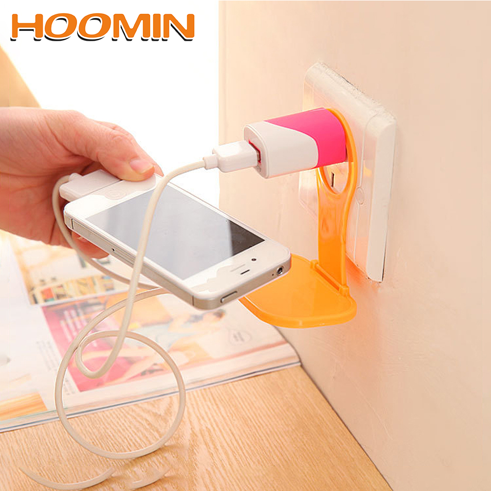 HOOMIN Charger Cable Storage Charging Rack Hang Holder Universal Foldable Mobile Phone Wall Plug Socket For Charger Phone Holder