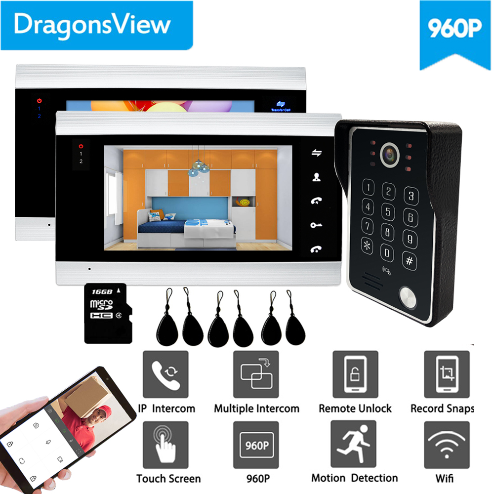 Dragonsview  960P RFID IP Video Intercom Wireless Wifi Video Door Phone Doorbell With Password Unlock Mobile APP IOS Android