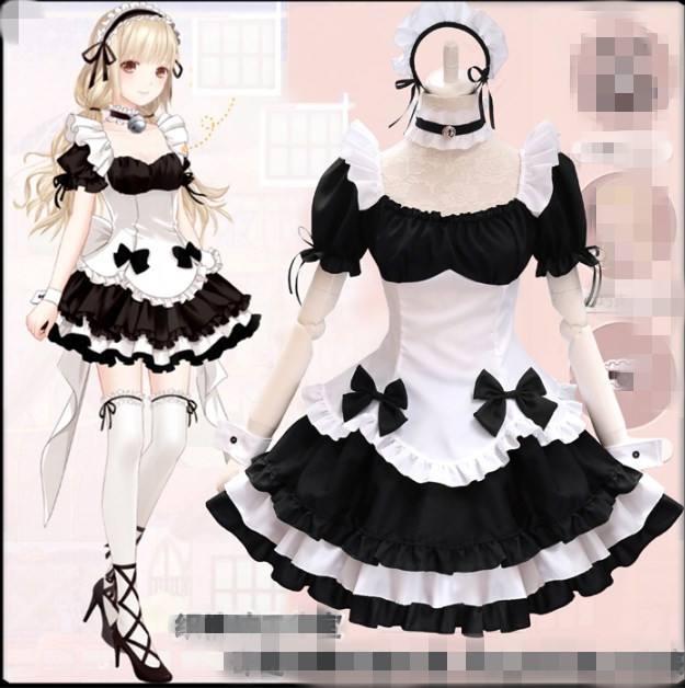Black White Chocolate Maid Costumes French Bowknot Maid Skirt Girls Woman Amine Cosplay Costume Waitress Party Costumes