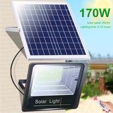 Poderoso 170leds/44leds movido a energia solar de segurança inundação lâmpada parede painel solar à prova dwaterproof água jardim ao ar livre luz do ponto com controle remoto