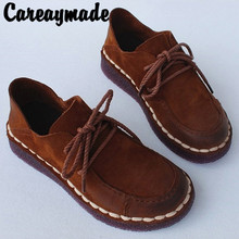 Careaymade-Retro-style womens shoes,flat sole soft laced cowhide single shoes hand-made Martin the art mori girls