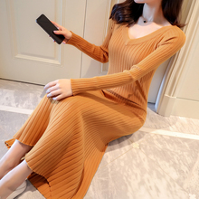 Autumn Winter Women Vintage Dress Ribbed Elegant A line Pullovers Sweater Dress Full Sleeve Vestidos Party Long Knitted Dresses недорого