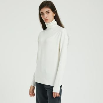 Wixra Women Soft Solid Knitted T Shirts Ladies Long Sleeve Casual Turtleneck Basic Sweater Tee Autumn Winter Classic Tops 1