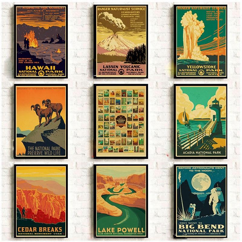 Vintage Nationalen Park Poster Set Landschaft Kunstdrucke Natur Wand Kunst und Berg Print Set Abstrakte Gemälde Berg Decor