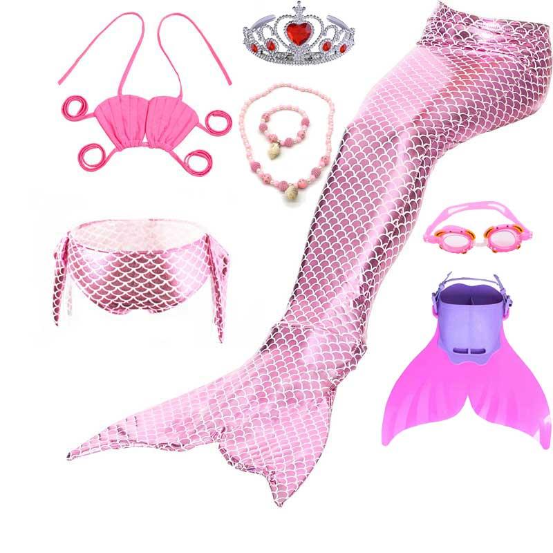 Classic Pure Scales Mermaid Tail Swimming With Monofin Bikini Swimwear For Girls Glitter Princess Ariel Party Cosplay Costume