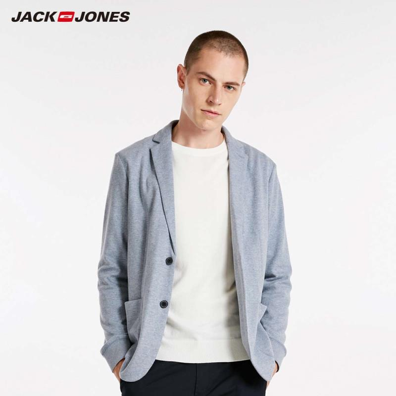 JackJones Men's Autumn Cotton & Linen Slim Fit Blazer Long-sleeved Suit Jacket 2019 New Brand Menswear 218308505