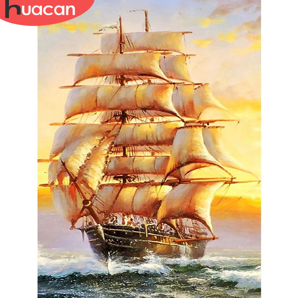 HUACAN Full Drill Square 5D DIY Diamond Painting Sailboat Diamond Embroidery Landscape Picture Of Rhinestone Decor Home