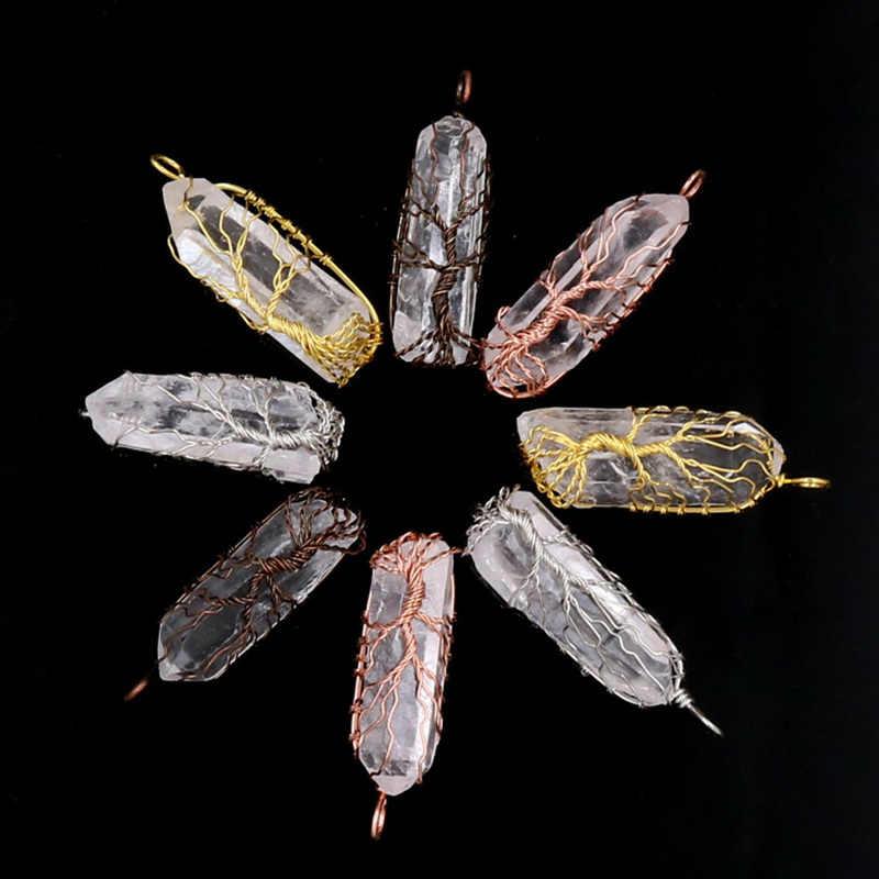 Рейки 7 Чакра Дерево жизни ожерелье и кулон для женщин натуральный кристалл кварца целебные подвески с камнями Длинные мужские цепочки