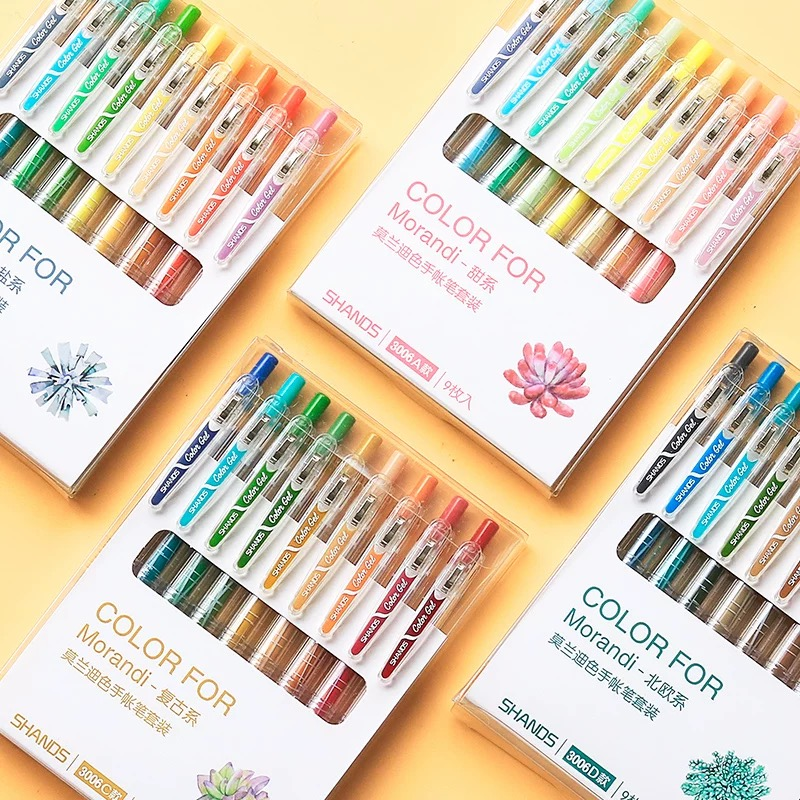 9 Colors/set Vintage Morandi Gel Pen Creative DIY Bullet Journal Drawing Graffiti Pen Kawaii Office Stationery School Supplies