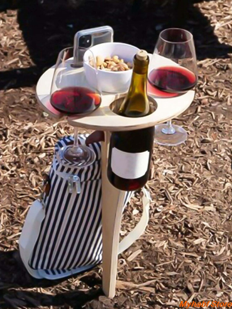 Creative Foldable Wine Table with Round Desktop Wooden Wine Glass Goblet Holder for Outdoor Picnic Camping Portable Wine Rack