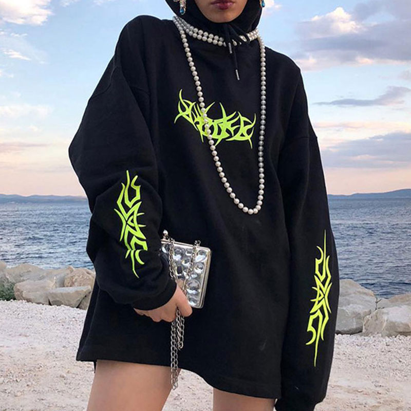 Black Oversized  Hoodies Women Neon Print Hooded Women's Hoody Loose  Pullover 2020 Spring Gothic Streetwear Hoodie Female Tops