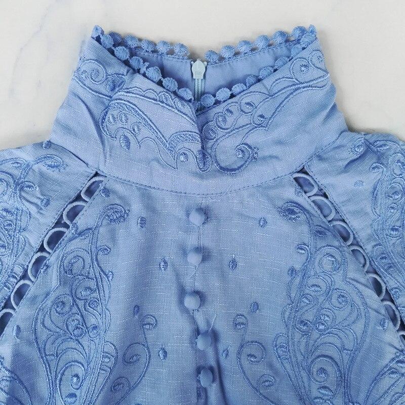 Mulheres de Vestido do vintage Azul Branco Bordado Floral Oco out Lattern Manga Botões Gola Mandarim Outono Primavera Dropshipping - 4