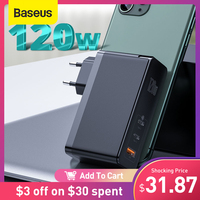 Baseus GaN caricabatterie 120W USB C PD caricabatterie rapido QC4.0 QC3.0 caricabatterie rapido per telefono portatile per iPhone Macbook Tablet portatile