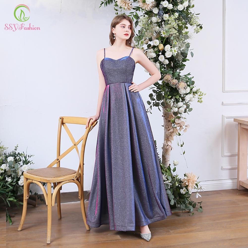 SSYFashion New Simple Banquet Sparkling Evening Dress Sweetheart Gradient Blue Purple Sleeveless Long Formal Gown Vestidos