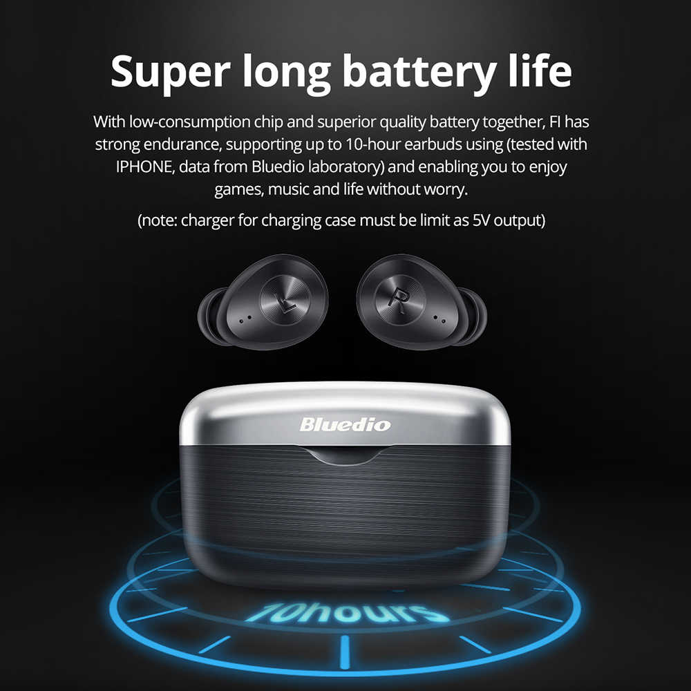 Bluedio Fi Bluetooth auriculares inalámbricos TWS APTX impermeable deportes auriculares inalámbricos en el oído con caja de carga