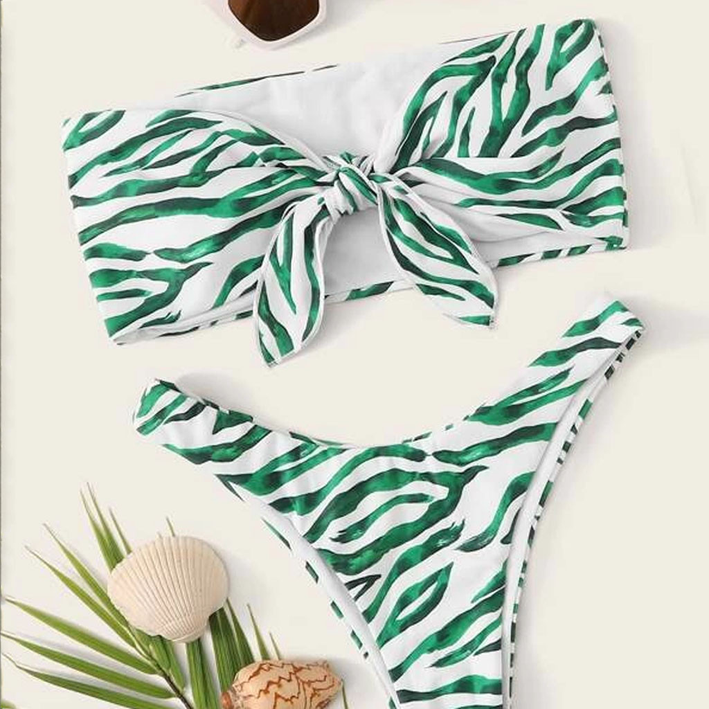 2020 Hot Sale Sexy Women Swimsuit Wrapped Chest Print Bikini Set Off Shoulder Padded Bandeau Swimsuit Swimwear Ladies Beachwear