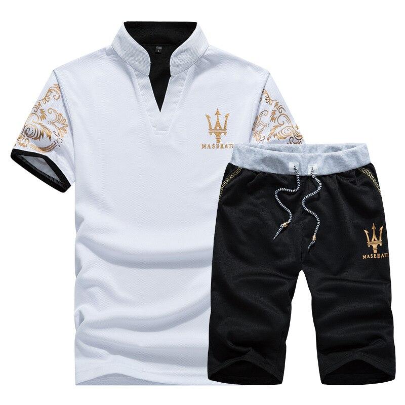 Men Leisure Set 2018 New Style Summer Men's Short-sleeved Shirt Sportswear Korean-style Trend T-shirt Shorts Sports Clothing