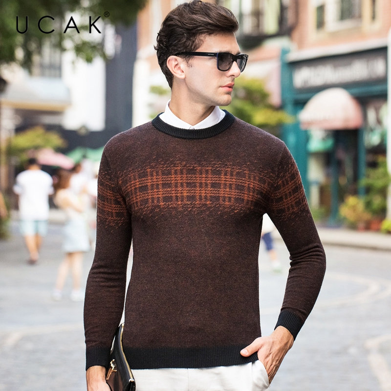 Image 3 - UCAK Brand Pure Merino Wool Sweater Men 2019 New Arrival Autumn 