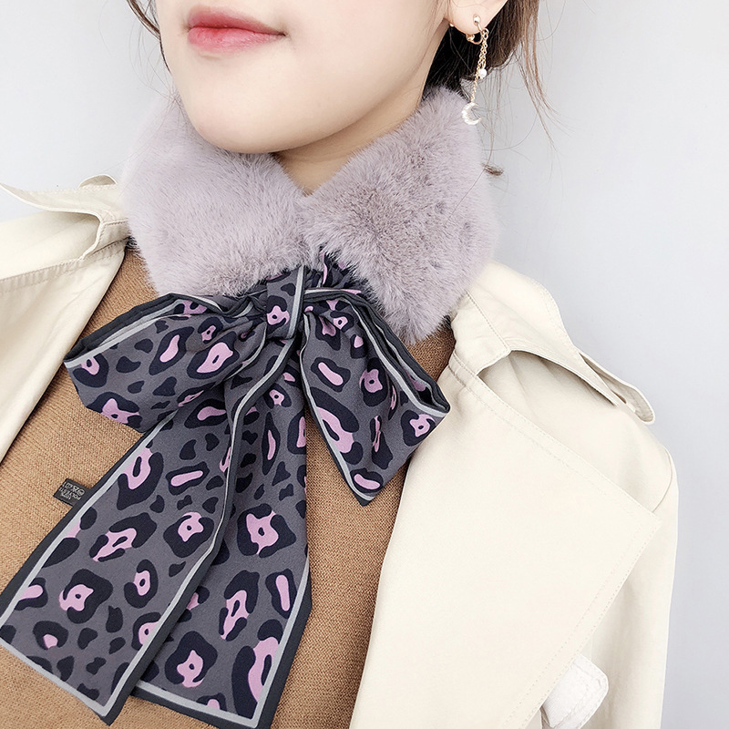 Fur Scarf Leopard Print Faux Rabbit Fur Collar Scarf Plush Skinny Silk Warm Winter Shawl Scarves Female Neckerchief Wraps