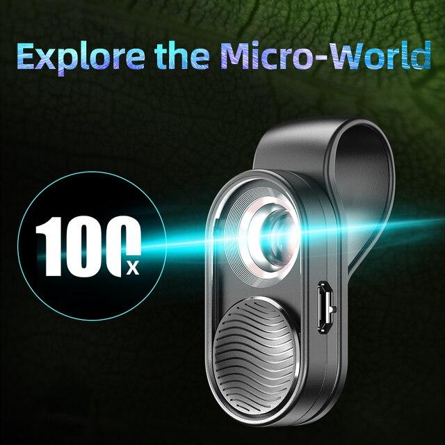 APEXEL100X lentille de microscope caméra lentille de téléphone grossissement élevé LED lumière micro lentilles de poche pour iPhone Samsung tous les smartphones