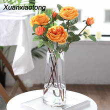 Xuanxiaotong 1pcs 58cm Real Touch Yellow Silk Roses Branches Long Stem Artificial Flowers for Wedding Decoration Fall Home Decor