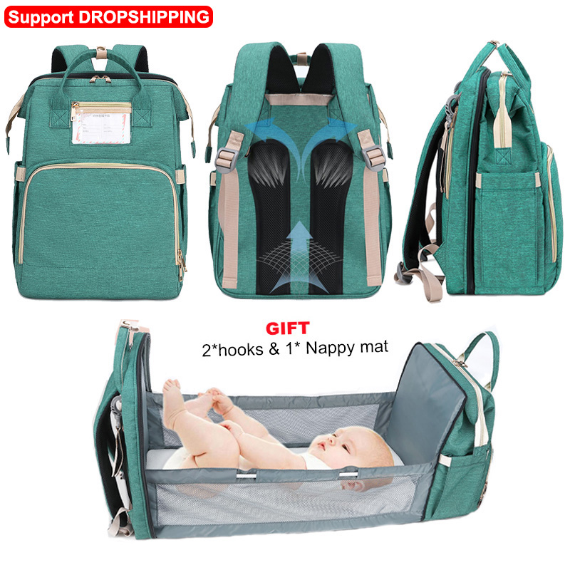 New Diaper Baby Bags With Bed Mummy Bag Waterproof Nylon Maternity Nappy Moms Backpack Baby Nursing Changing Bag For Baby Care