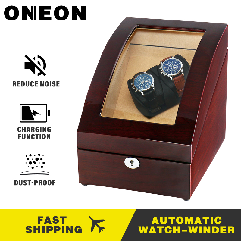 ONEON <font><b>2</b></font>+<font><b>3</b></font> Brown Automatic <font><b>Watch</b></font> <font><b>Winder</b></font> & Wooden Rotating <font><b>Watch</b></font> Box with Self-winding Display with Quiet Motor 4 Rotation Modes image