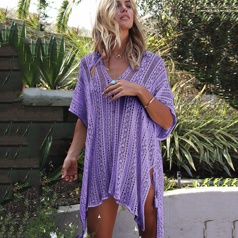 New Knitted Beach Cover Up Women Bikini Swimsuit Cover Up Hollow Out Beach Dress Tassel Tunics Bathing Suits Cover-Ups Beachwear 18