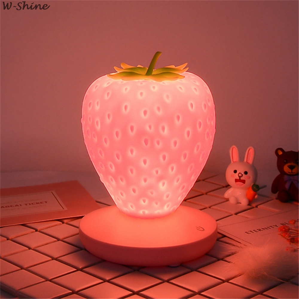 Toque regulável led night light silicone morango nightlight usb lâmpada de cabeceira para o bebê crianças presente quarto decoração
