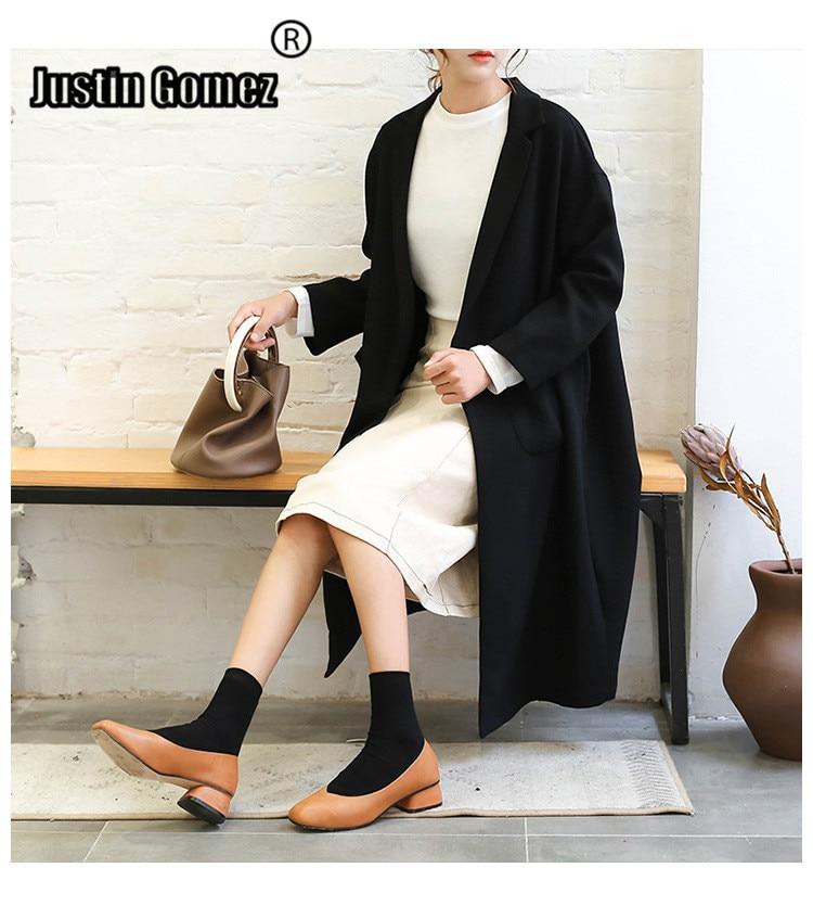 Hot Sale Women Winter 2019 Coats Women's Long and Medium-length Front Open Cardigan Beige Basic Black Long Sleeve   Trench   Coat