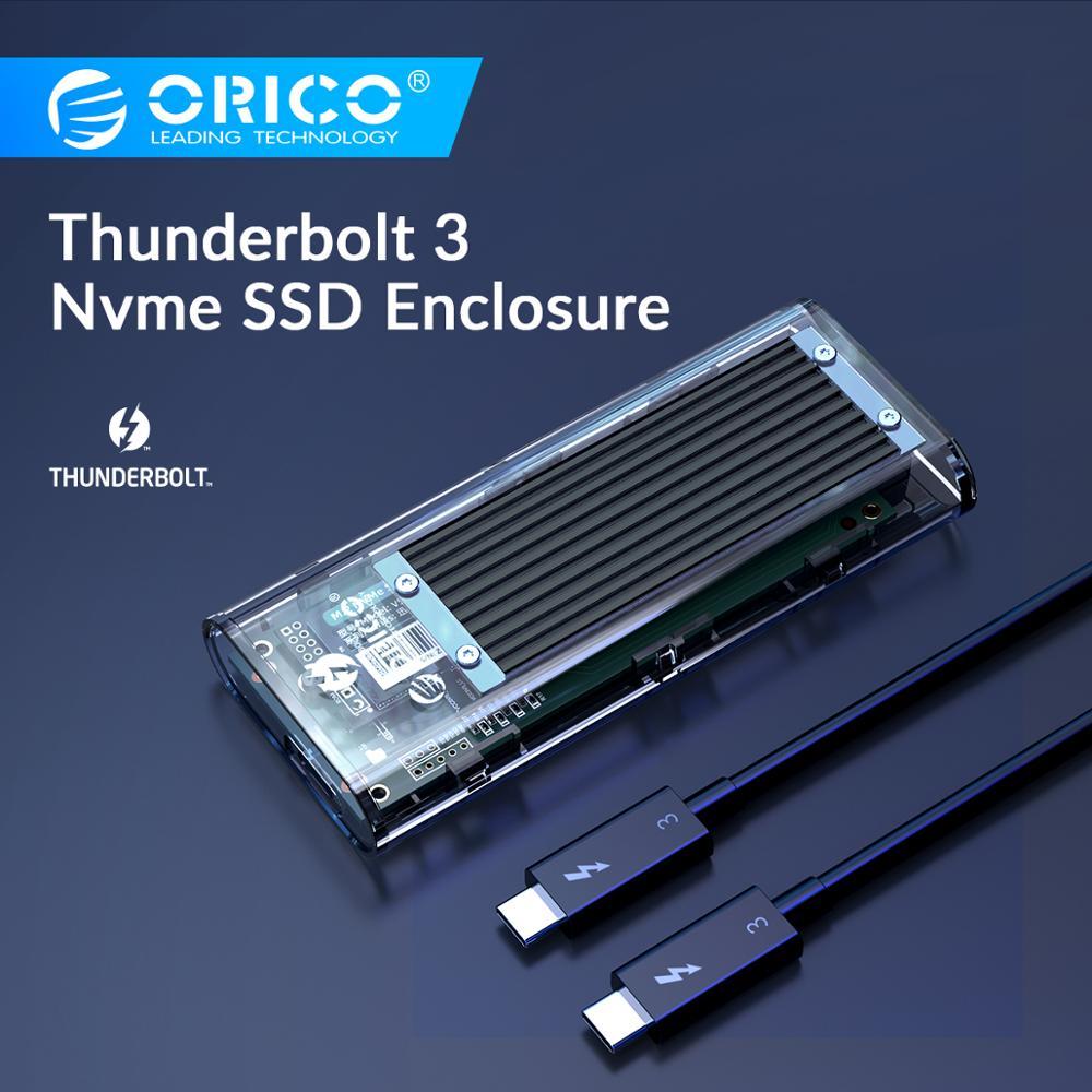 ORICO Thunderbolt 3 M.2 NVME SSD Boîtier Soutenir 40Gbps 2 to Transparent USB C boîtier SSD avec C à C Pour Mac Windows