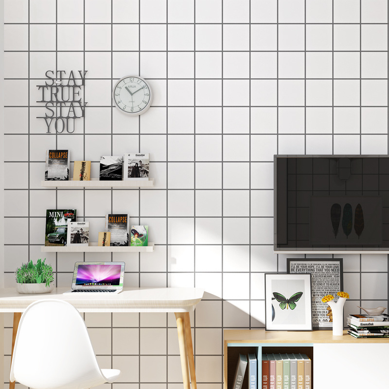 Living Room Bedroom TV Background Northern European-Style Black And White Plaid Wallpaper Hair Dressing Clothing Store Solid Col