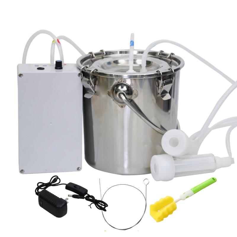 5L Portable Electric Milking Machine Vacuum Pump Stainless Steel Goat Milker US