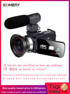 KOMERY 4K Camcorder Camera Touch-Screen Time-Lapse Photography Wifi Night-Vision LCD