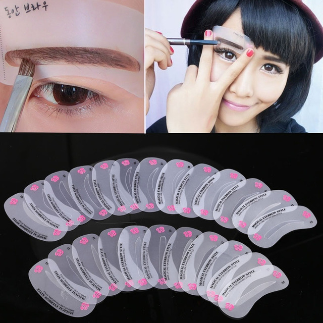 New 24 Pcs Reusable Eyebrow Stencil Set Eye Brow DIY Drawing Guide Shaping Grooming Template Card Easy Makeup Beauty Kit SCI88 2
