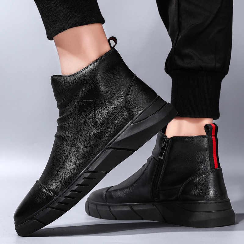 新プラス綿の冬のメンズブーツ靴カジュアル Bota Ş デやつ高トップ靴男性高品質マーティンブーツ男性の雪のブーツ