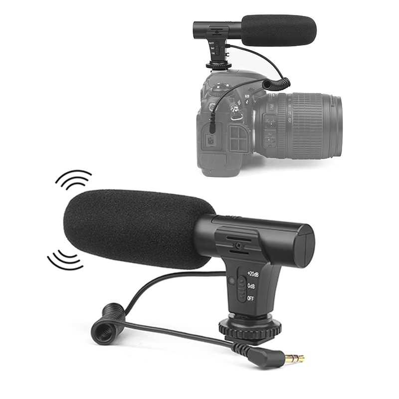 Condenser Video Recording Microphone For Nikon Canon Sony DSLR Camera, Vlogging Interview 3.5mm Stereo Camera Microphone