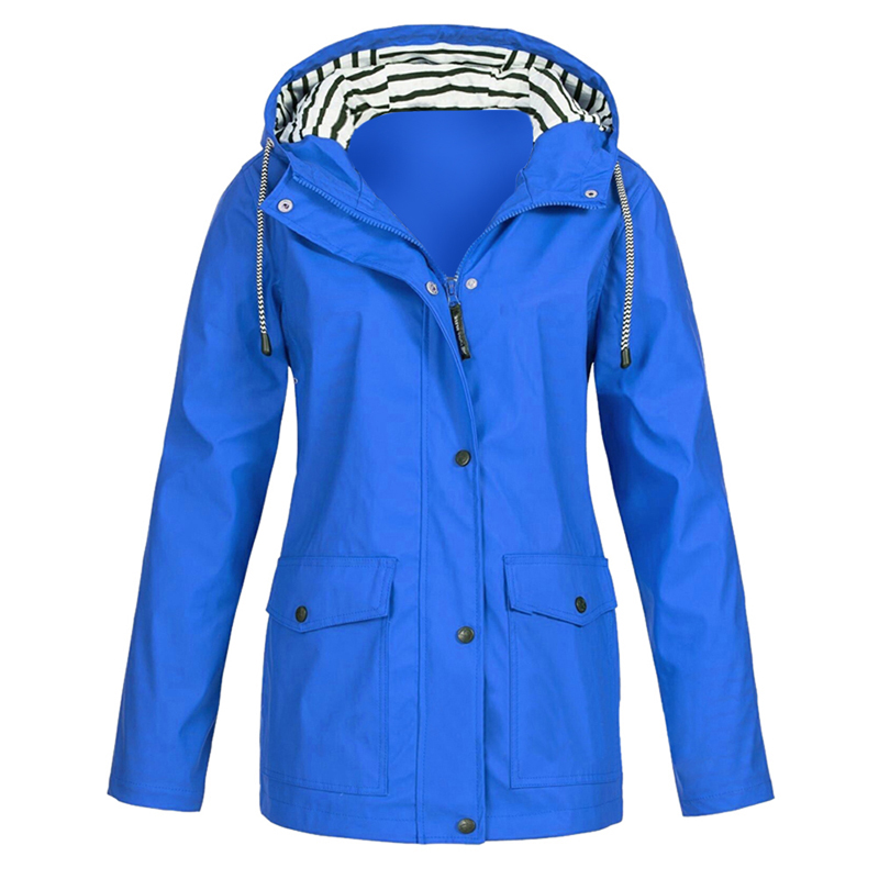 JODIMITTY 2019 Women Solid Color Waterproof Jacket Ladies Hooded Classic Softshell Raincoat Outdoors Coat Windbreaker Outwear
