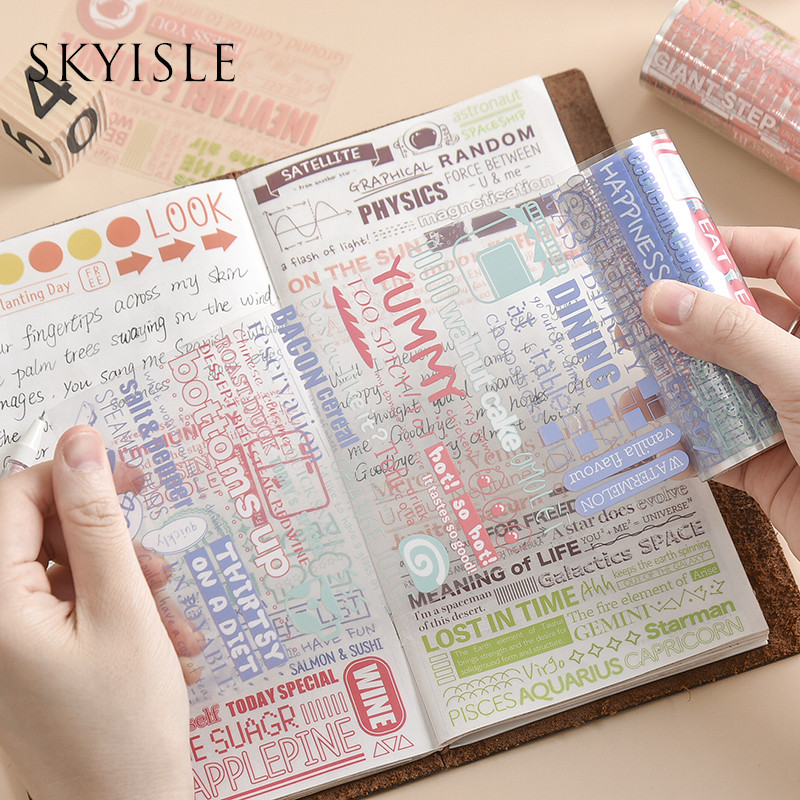 SKYISLE Salt text English letters and paper tape, net red transparent PET hand account text control waterproof sticker decoratio