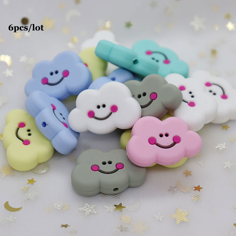 6Pcs Cloud Perle Silicone Dentition Silicone Beads BPA Free Nursing Gifts Baby Teething Necklace Toys Siliconen Kralen Mordedor