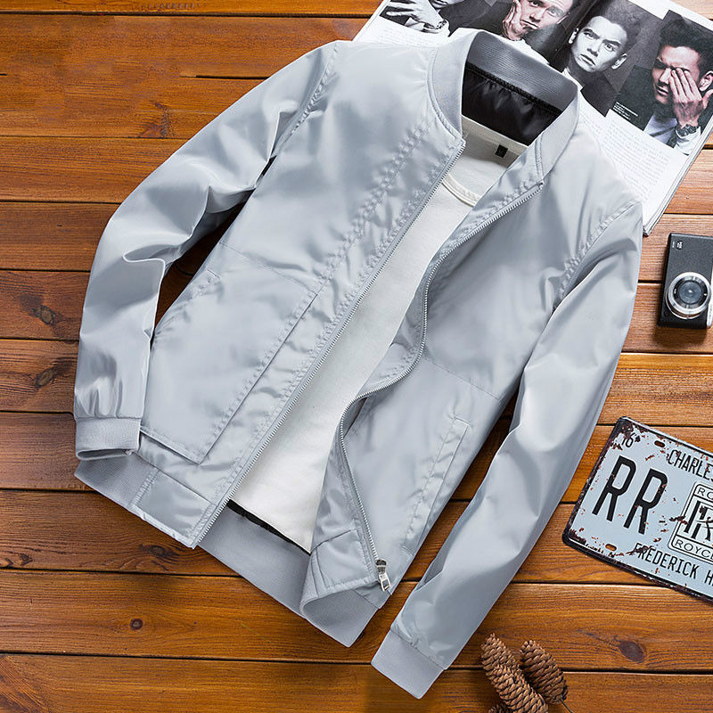 Stand Collar Jacket Spring Summer Thin Section Baseball Uniform Smooth Fabric Casual Jacket Bomber Jacket Men Polyester