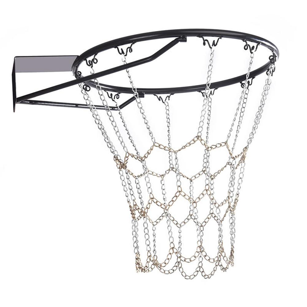 Chain Basket Net Basketball Tennis Bag Sports Heavy Duty Galvanized Steel Chain Basketball Goal Net Durable Standard Hoop