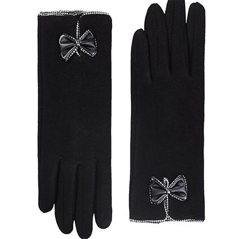 Winter The New Lady Is Not Velvet Bowknot Adornment Fashion Touch Screen Saver Cycling Wind Warm Gloves Gloves   ST-002