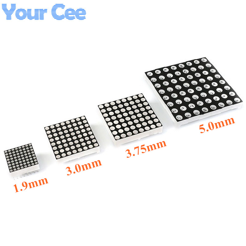 8x8 8*8 Dot Matrix Led Lattice Red Display Module Digital Tube Common Anode Screen For Diy 1.9mm 3mm 3.75mm 5mm
