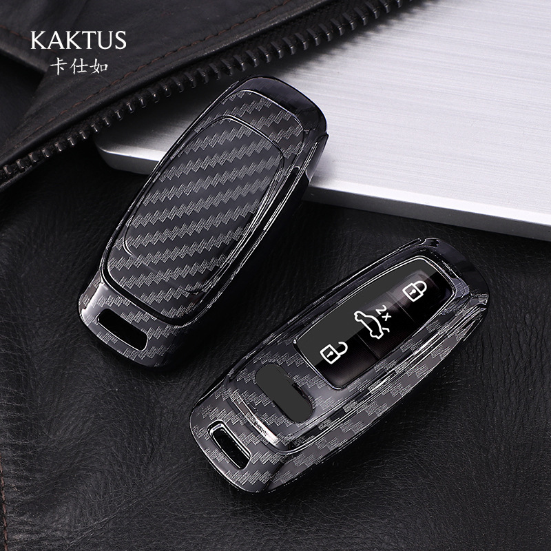 Carbon Fiber car key case TPU For Audi A6 C8 A7 A8 Q8 2018 2019 car accessories car interior keyring keychain key cover new image