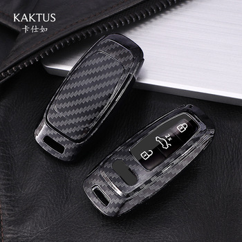 New Hot Sale Carbon Fiber Pattern Car Key Case Cover For Audi A6 C8 A7 A8 Q8 2018 2019 Car Interior Accessories Keyring Keychain