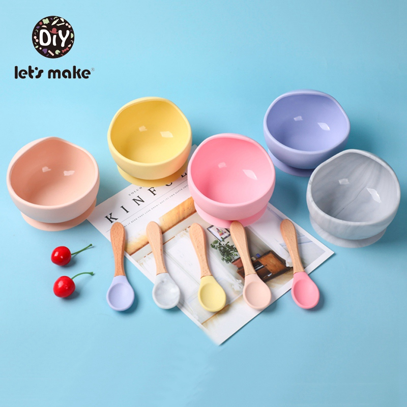 Let's Make Baby Silicone Plate Kids Bowl & Spoon Set BPA Free Baby Feeding Dishes Tableware Cartoon Children Baby Plate