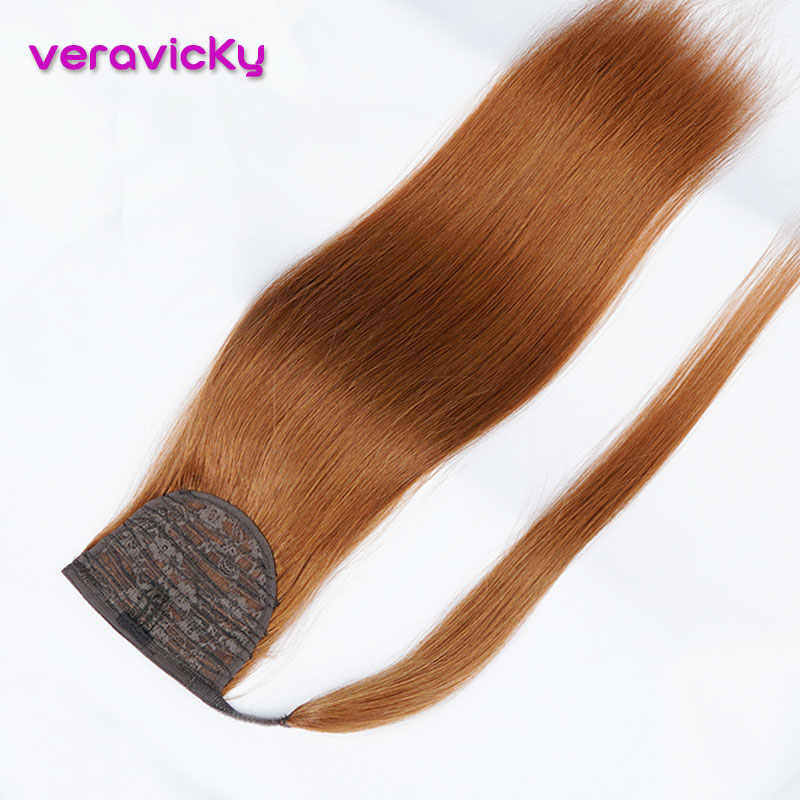 Veravicky 100% Echt Menselijk Haar Paardenstaart Straight Copper Red Machine Gemaakt Remy Wrap Around Paardenstaart Clip In Hair Extensions